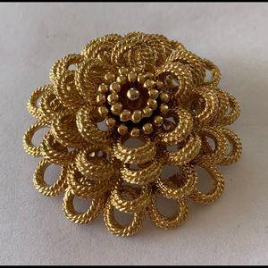 Monet Art Deco Gold Tone Dome Shape Brooch Pin